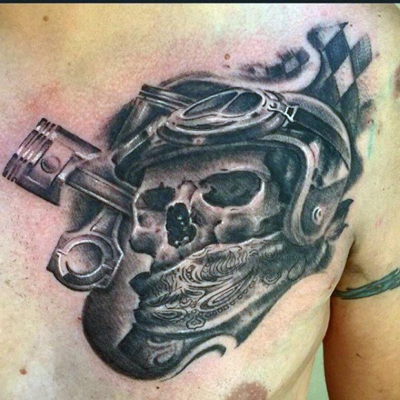 Байкерские тату - эскизы, значения татуировок для байкеров, места нанесения на руку, плечо, предплечье