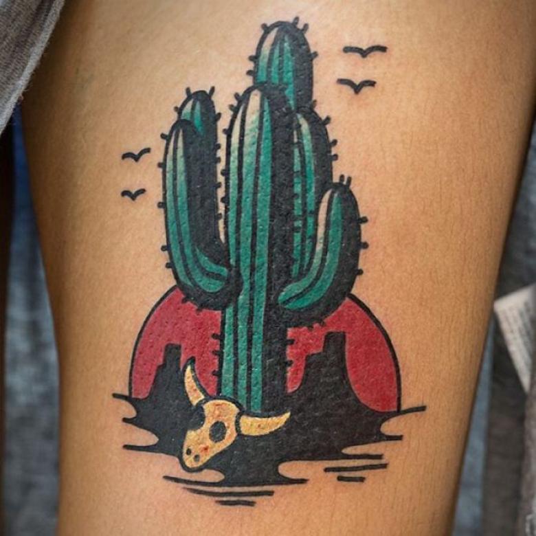 Тату кактуса - эскизы, значение татуировки кактус для девушек и и мужчин (79 фото)